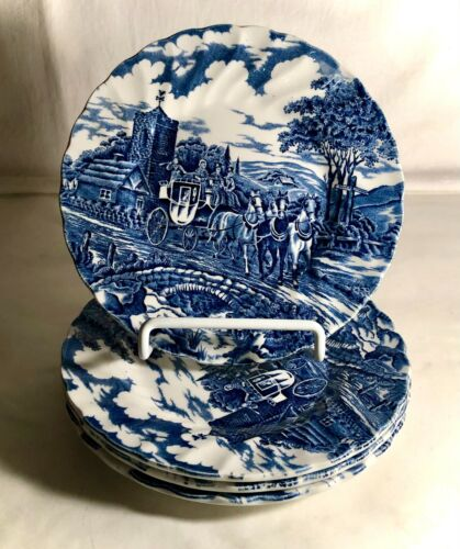 """4 Myott Blue Royal Mail 6 3/4"""" Bread And Butter Plates"""