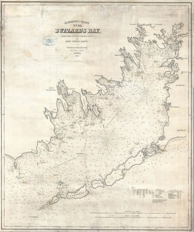 1877 Eldridge Nautical Chart or Map of Buzzard Bay, Massachusetts