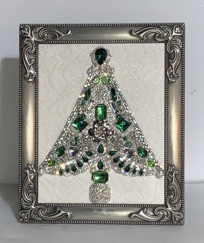 Emerald Green & Silver / Rhinestones / Jewelry Christmas Tree Framed Picture