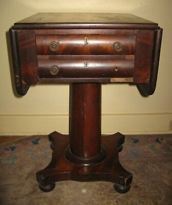 Antique 19thC American Classical Federal Empire Mahogany Work Table Boston Mass