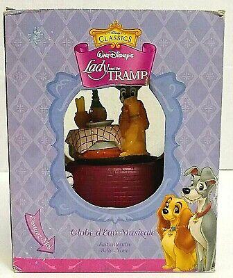 Disney Lady and the Tramp Music Box Snow Globe w/ Original Box Plays Bella Notte
