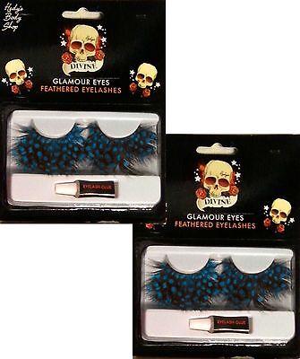 Blue Spots Feather Eye Lashes Extra Long Lash Costume Eye lash False Eyelashes