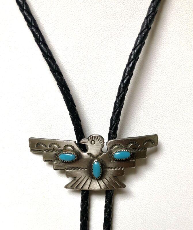 Vintage Navajo SilverTurquoise Thunderbird Bolo Tie