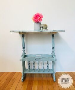 Vintage End Table with Magazine Rack