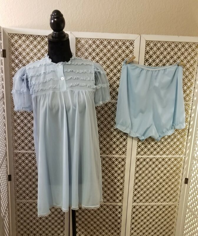 Vintage Chic Lingerie Baby Doll Nightgown With Panties Blue Medium