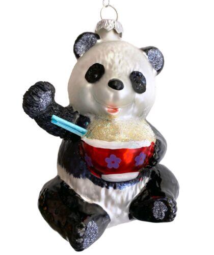 Panda Bear Glass Christmas Ornament Eating Rice Bowl Chopsticks Food Asian R
