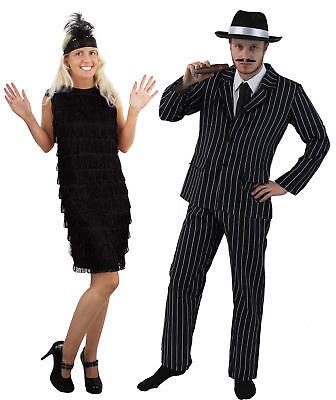 Ganster Kostüme (1920er GANSTER PAARE KOSTÜM SCHWARZES FLAPPER CHARLESTON FRANSENKLEID + NADELSTR)