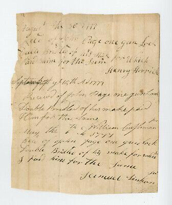 1777 - Group of Three Gunmaker's Receipts, John Page, Gun Locks, Rev War