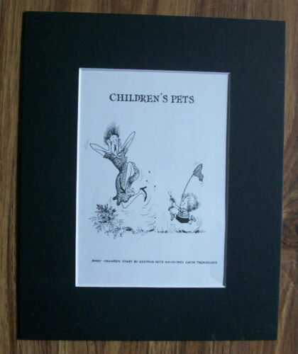 Child Cartoon Print Norman Thelwell Catch Pet Bug Bookplate 1977 8x10 Matted