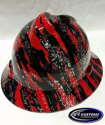 Red Marble Spread Pattern Full Brim New Custom MSA V-Gard Hard Hat W/FasTrac