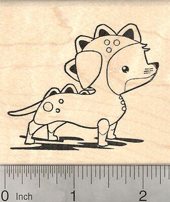 Weiner Dogs In Halloween Costumes (Halloween Dachshund Rubber Stamp, Weiner Dog in Dachsie-saurus Costume J25807)