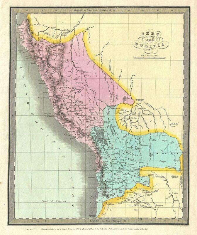 1833 Burr Map of Peru and Bolivia