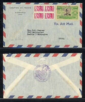 Nicaragua 75th Ann Postal History: LOT #50 1953 French Diplomatic to SEATTLE $$$