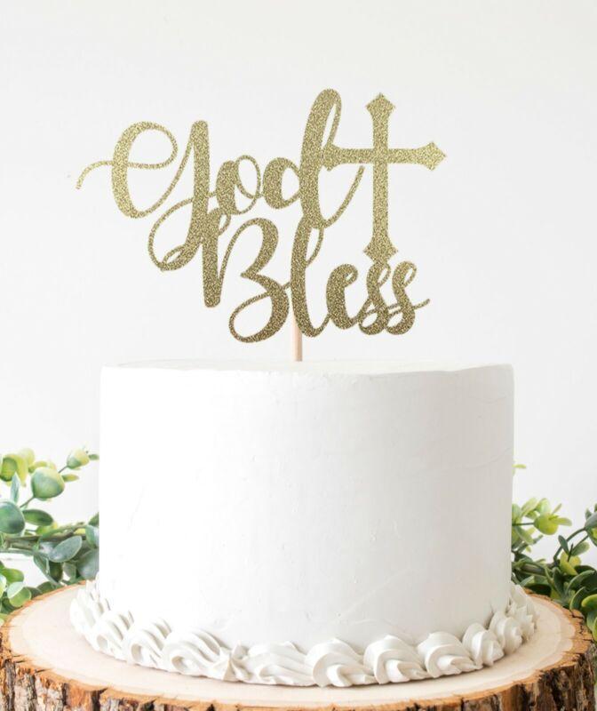 God Bless Cake Topper For Baptism Christening Double Sided Glitter Cardstock