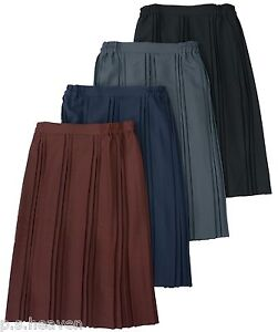 NEW-BACK-ELASTIC-PLEATED-SKIRT-BLACK-GREY-NAVY-RED-BROWN-12-14-16-18-20-22