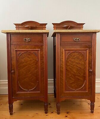 Pair of Victorian Bedside Cabinets, decorative maple doors, original stone tops