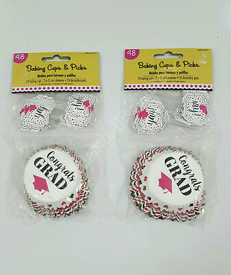 48 each Graduation Cupcake Liners Baking Cups & Decorative Picks Amscan 141755