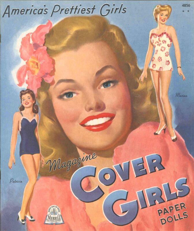 VINTAGE UNCUT 1944 COVER GIRLS PAPER DOLL Merrill~ORG SZ~LASR REPRODUCTION~LO PR