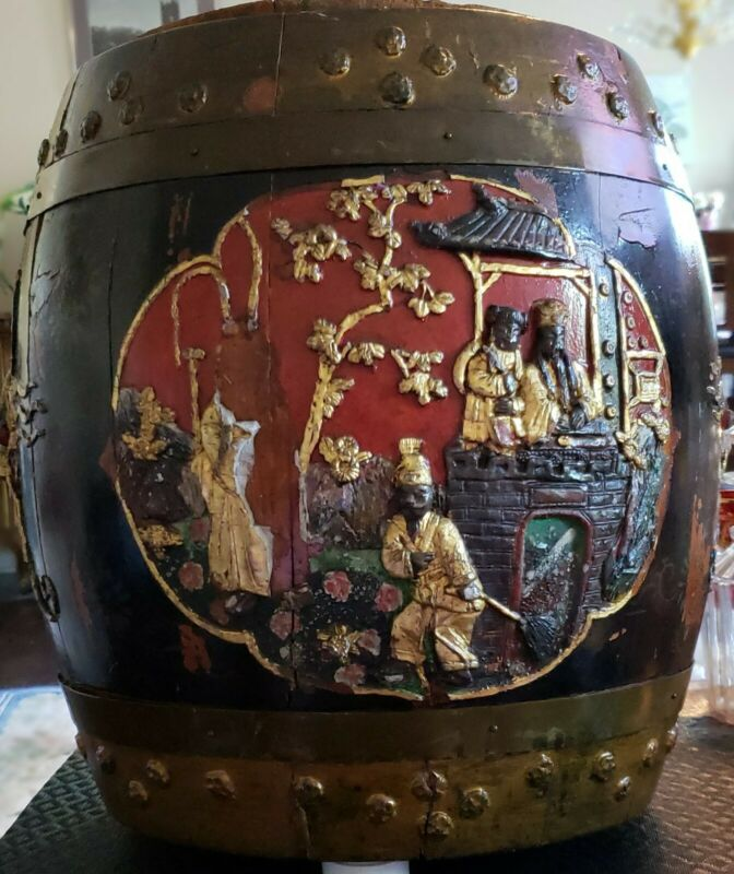RARE SIGNED CHINESE MING DYNASTY HAND MADE HAND CARVED WOOD RICE BARREL