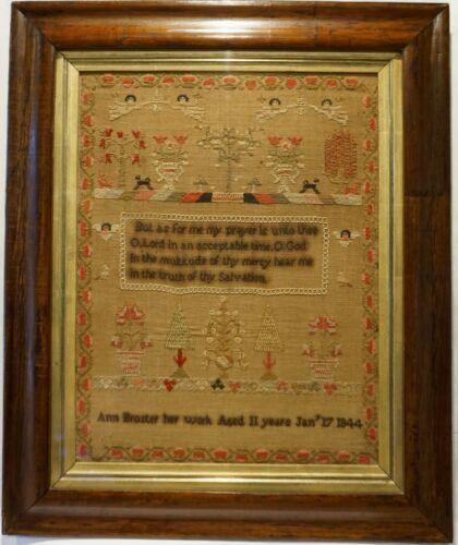 MID 19TH CENTURY GARDEN, MOTIF & PRAYER SAMPLER BY ANN BROSTER AGED 11 - 1844
