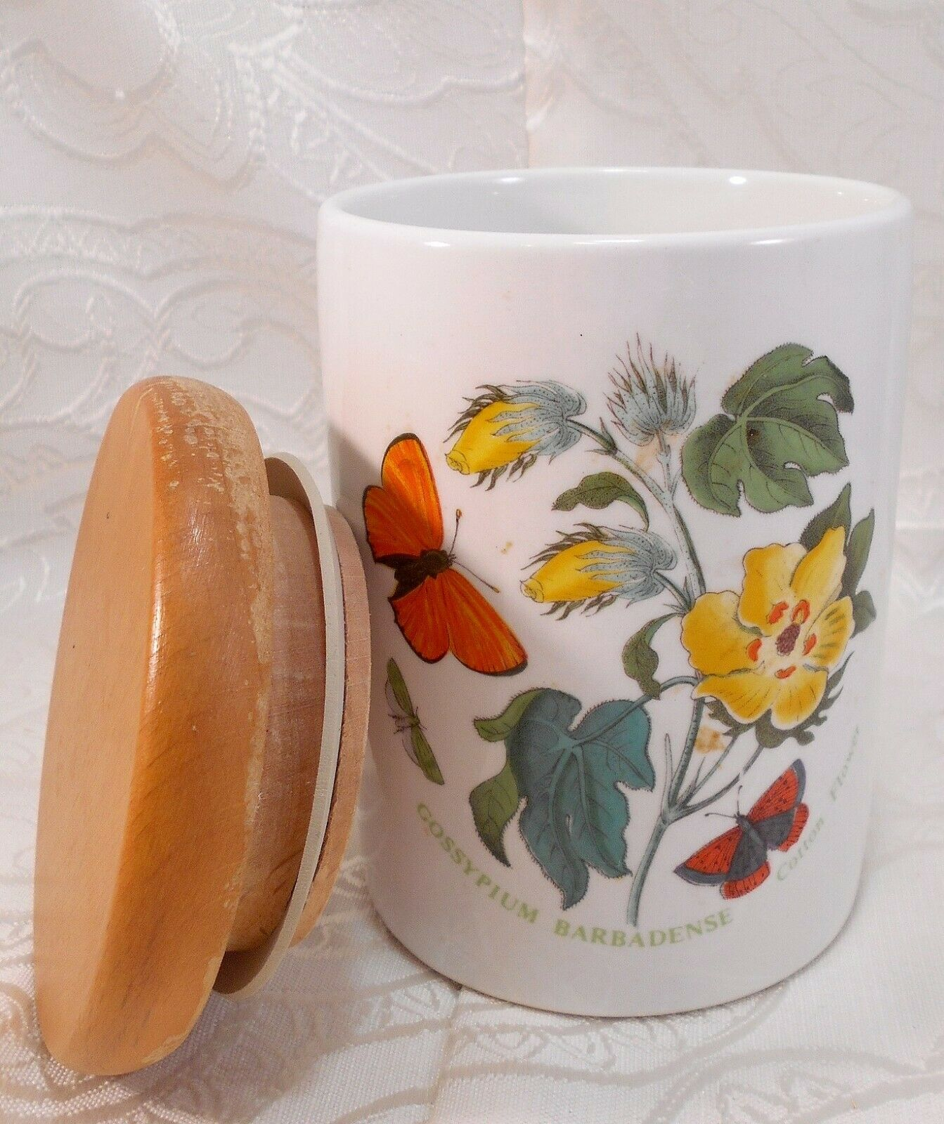 Cotton Flower Portmeirion Small Storage Canister Wood Lid England 1972 Jar Pasta - $44.94