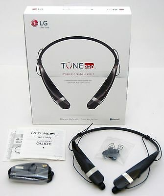 GENUINE LG Tone Pro HBS-760 Wireless Headphones BLACK Bluetooth Headset Loud