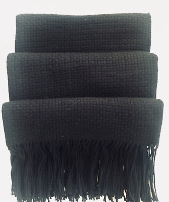 "Pur Cashmere Nantucket Basketweave Fringed Throw; Black 50"" x 65"""