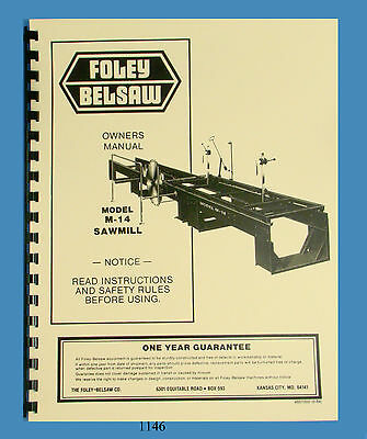 Foley Belsaw M-14 Sawmill Instruction Assembly Operator Parts Manual 1146