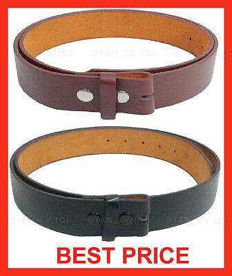 - BLACK BROWN PLAIN LEATHER BELT STRAP SNAP ON NO BUCKLE  SOLID UNISEX MENS WOMENS