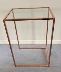 Rose Gold & Glass Side Table