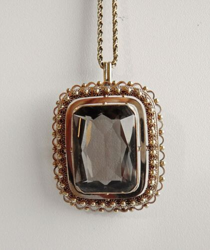 """14K SMOKY QUARTZ BROOCH/PIN/PENDANT- AFTER THE ANTIQUE 1.5"""" x 1.25""""  20g  11cts"""