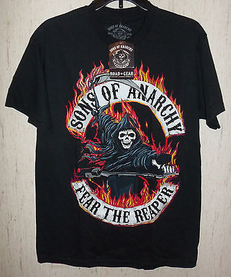 Nwt Mens Sons Of Anarchy  Fear The Reaper  Black Novelty T Shirt Size M