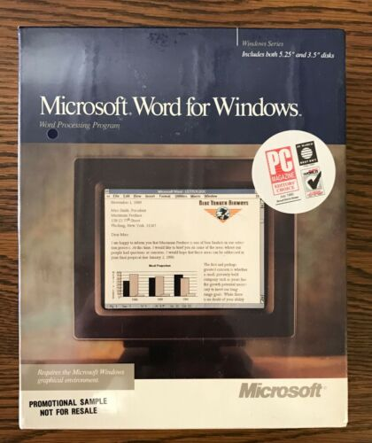 RARE Brand New Promo Sample 1990 Microsoft Word for Windows 1.1 Sealed!!