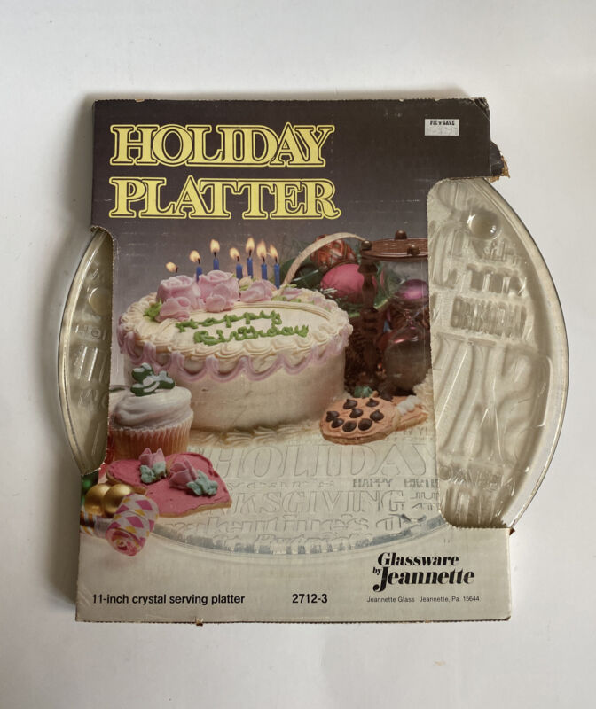 """Vintage Glass Holiday /Birthday Platter by Jeannette 11"""" Crystal Serving Plate"""