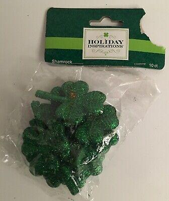 St. Patrick's Day Assorted Green Sparkle Glitter Shamrocks Crafts 10 Pieces New - Glitter Shamrocks