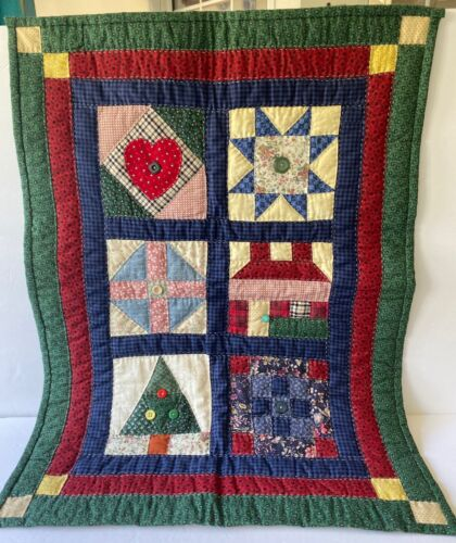 Quilted Patchwork Sampler Wall Hanging Hand Stitched