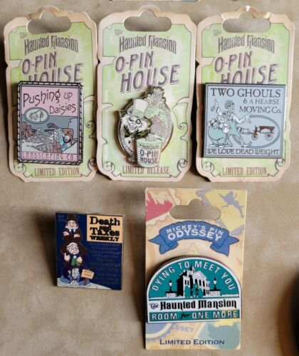 Disney Haunted Mansion Magazines O-Pin House Decal Collection 5 Pin Lot