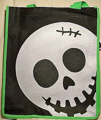 Walmart Trick or Treat Tote Bag Halloween Funny Skull Black Green Sparkle - Walmart Halloween Trick Or Treat Bags