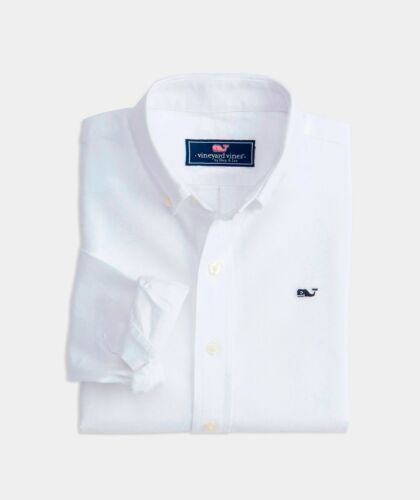Vineyard Vines Whale Oxford Sport Shirt, NWT - Boys M (12-14), + L (16 ) - White