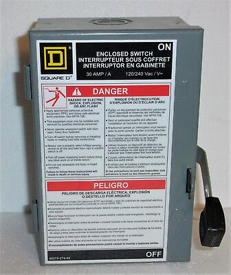 Square D 30 Amp Fused 40275-274-05 Enclosed Switch 40275 274 05 120240vac New