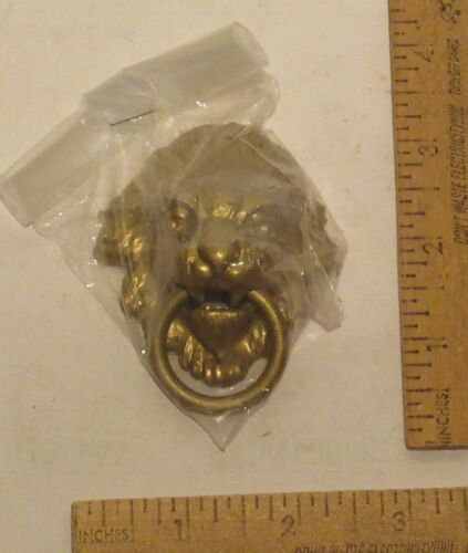 LION HEAD - ring in mouth - Accent PART - Reproduction Brass Tone - listing # 1