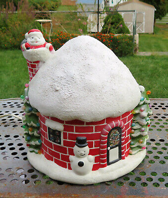 Vintage Ceramic Igloo Light-Up Christmas House Santa Claus Snowman Holiday Decor