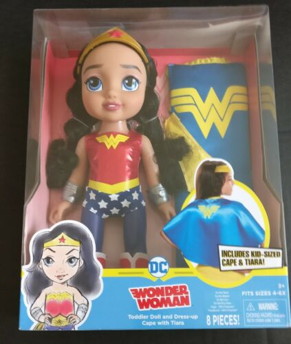 Wonder Woman Doll with Dress-up Cape and tiara for toddlers
