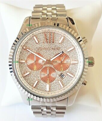 Michael Kors Watch Mens Lexington Chrono White Dial Silver Band MK8515 Genuine