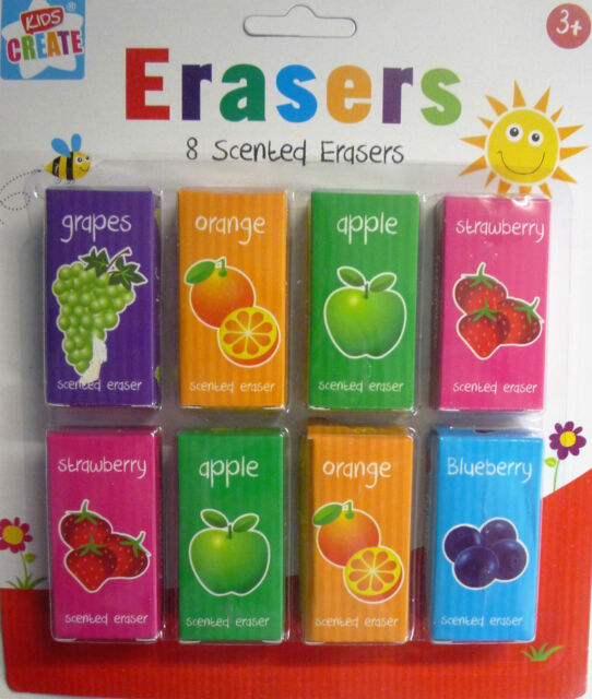 Pack of 8 Scented Erasers (Rubbers) in individual boxes - Great Party Fillers