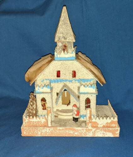Large Vintage Putz Church 2 Pieces Santa Figure Pre-War Japan Glitter House