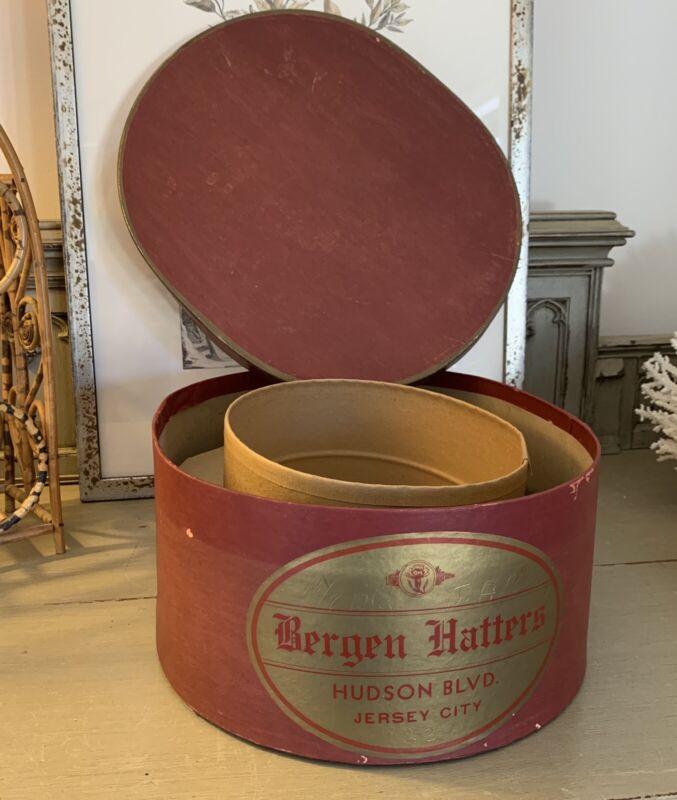 Bergen Hatters~ Vintage Hat Box~ Oval~ Burgundy