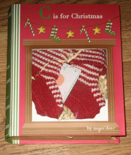 New Angel Dear Holiday Red & White Booties in a Book Box
