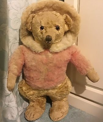 "Rare Chiltern Skater Bear, 1930's, label, 24"" Antique Vintage Teddy, Mohair Silk"