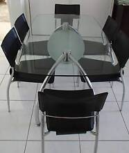 Modern Glass top dining table with 6 chairs Waterford Logan Area Preview